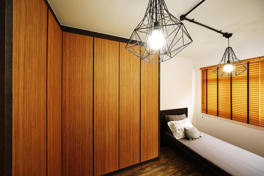 Industrial, HDB, Bedroom, Pasir Ris, Interior Designer, The Local INN.terior 新家室, Wardrobe, Single Bed, Blinds, Venetian Blinds, Caged Lamp, Pendant Lamp, Industrial Style Lamp