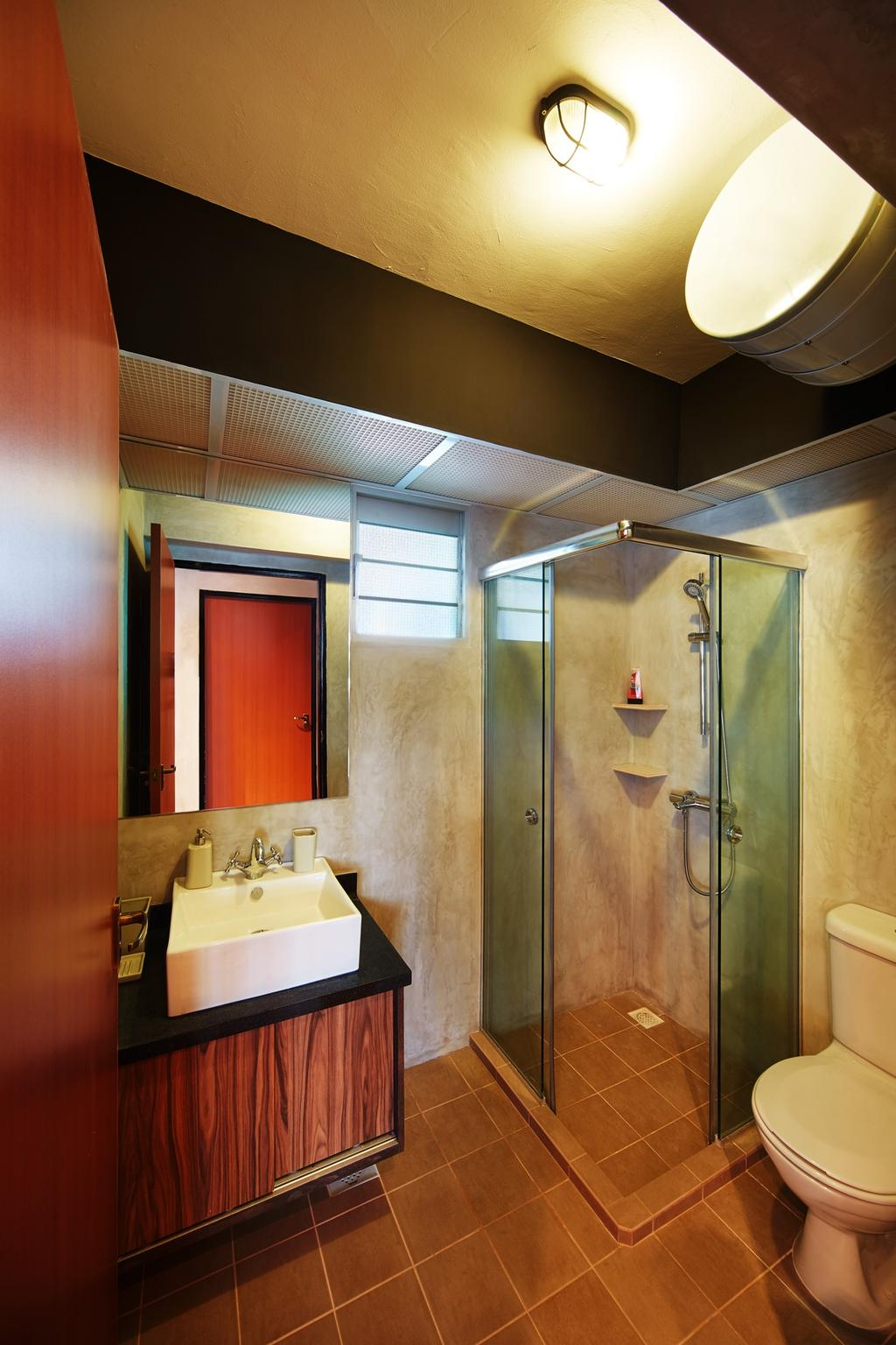 Industrial, HDB, Bathroom, Pasir Ris, Interior Designer, The Local INN.terior 新家室, Bathroom Vanity, Mirror, Sink, Bathroom Sink, Shower Area, Shower Screen, Toilet Bowl, Water Closet, Indoors, Interior Design, Room