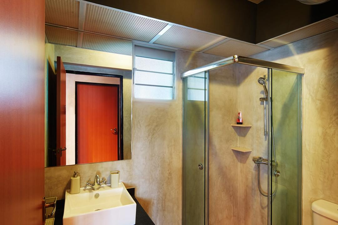 Pasir Ris, The Local INN.terior 新家室, Industrial, Bathroom, HDB, Bathroom Vanity, Mirror, Sink, Bathroom Sink, Shower Area, Shower Screen, Toilet Bowl, Water Closet, Indoors, Interior Design, Room