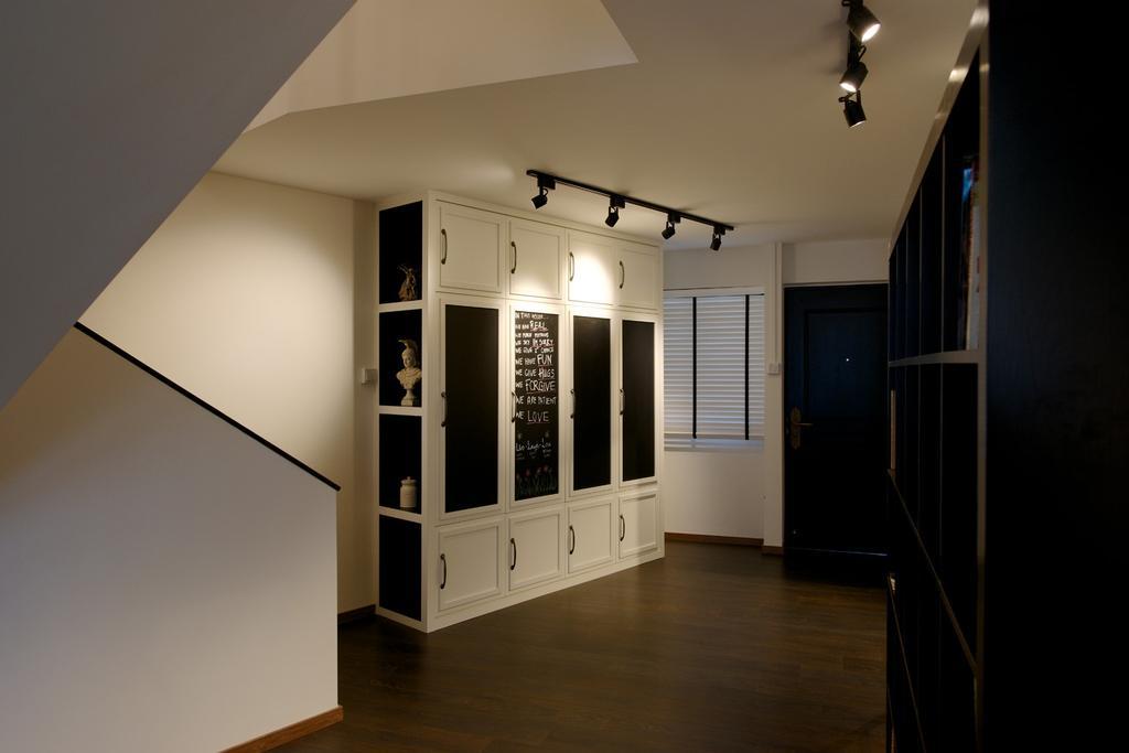 Eclectic, HDB, Living Room, Jurong West Masionette, Interior Designer, Dyel Design, Cabinet, Storage, Cubbyholes, Display Shelf, Ornaments, Shelf, Shelves, Parquet, White, Venetian Blinds, Track Lighting, Building, Housing, Indoors, Loft
