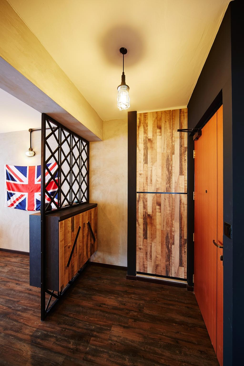 Industrial, HDB, Pasir Ris, Interior Designer, The Local INN.terior 新家室, Door, Entrance, Cabinet, Wood Laminate, Partition