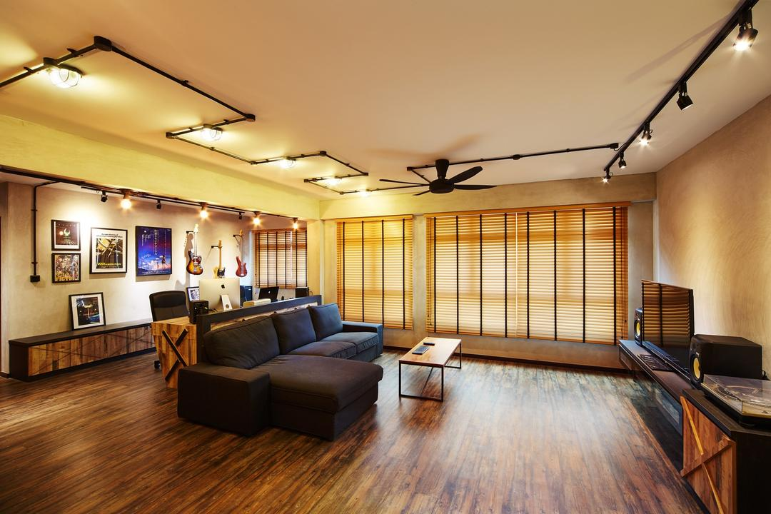 Pasir Ris, The Local INN.terior 新家室, Industrial, Living Room, HDB, Track Lights, Track Lightings, Tv Cabinet, Tv Console, Blinds, Venetian Blinds, Hacked Wall, Couch, Furniture, Hardwood, Wood, Stained Wood, Indoors, Interior Design