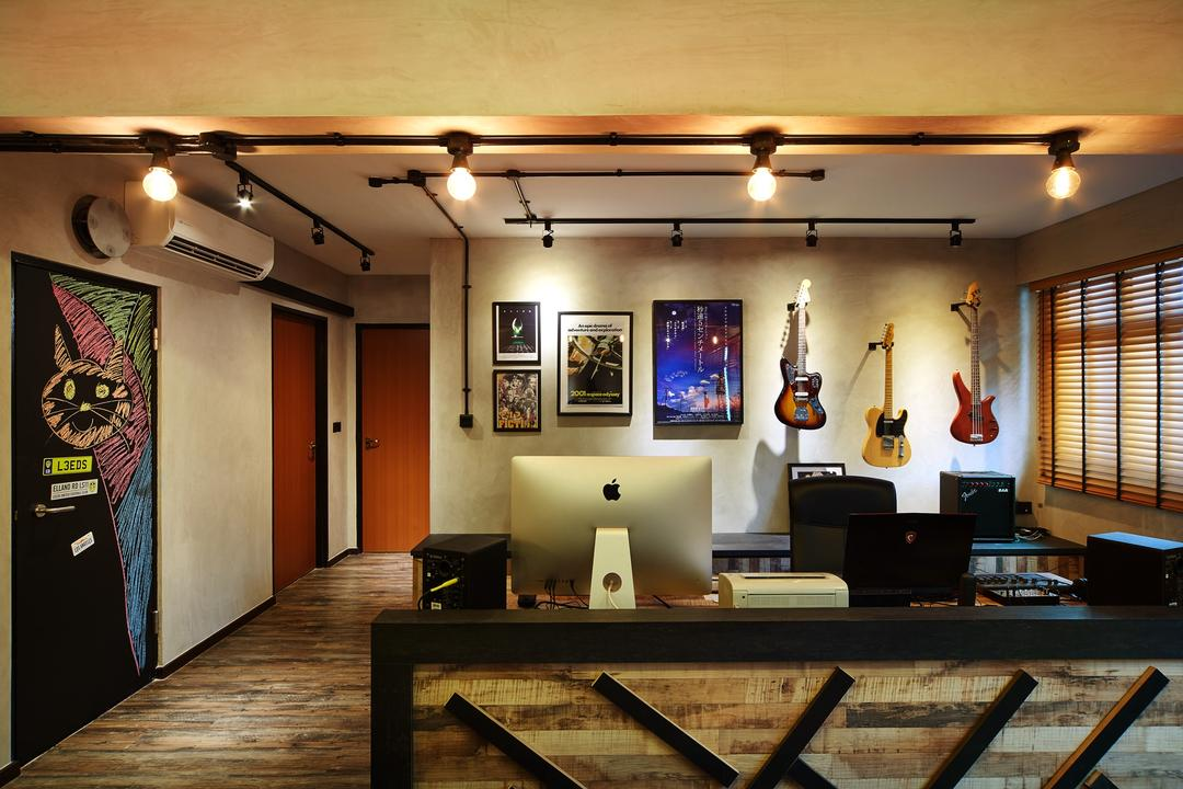 Pasir Ris, The Local INN.terior 新家室, Industrial, Study, HDB, Track Lights, Track Lighting, Study Table, Computer Desk, Desktop, Work Station, Musical Instrument, Guitar, Guitar Wall Mount, Guitar Wall Hanger, Blinds, Painting, Art, Art Gallery, Dining Room, Indoors, Interior Design, Room