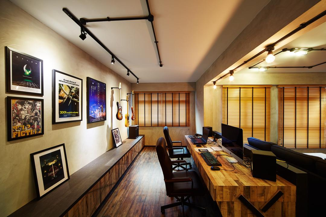 Pasir Ris, The Local INN.terior 新家室, Industrial, Study, HDB, Painting, Wall Decor, Wall Art, Track Lightings, Office Chair, Work Station, Imac, Desktop, Blinds, Brown Coloured Blinds, Art, Art Gallery, Dining Room, Indoors, Interior Design, Room