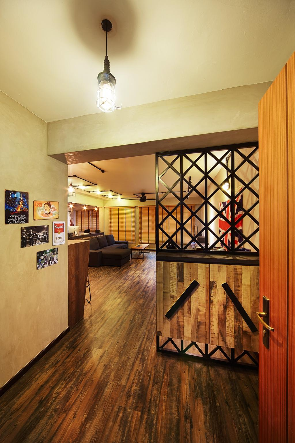 Industrial, HDB, Pasir Ris, Interior Designer, The Local INN.terior 新家室, Walkway, Hallway, Partition, Shoe Cabinet, Flooring, Art, Art Gallery, Indoors, Interior Design