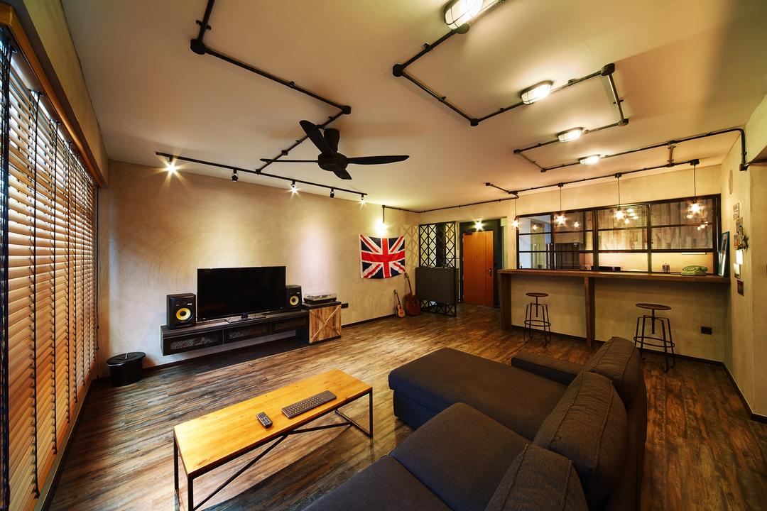 Pasir Ris, The Local INN.terior 新家室, Industrial, Living Room, HDB, L Shaped Sofa, Sectionals, Black Sofa, Sofa, Coffee Table, Wood Coffe Table, Floor Laminates, Dark Laminates, Floating Console, Tv Console, Ceiling Fan, Rustic, Woody, Couch, Furniture