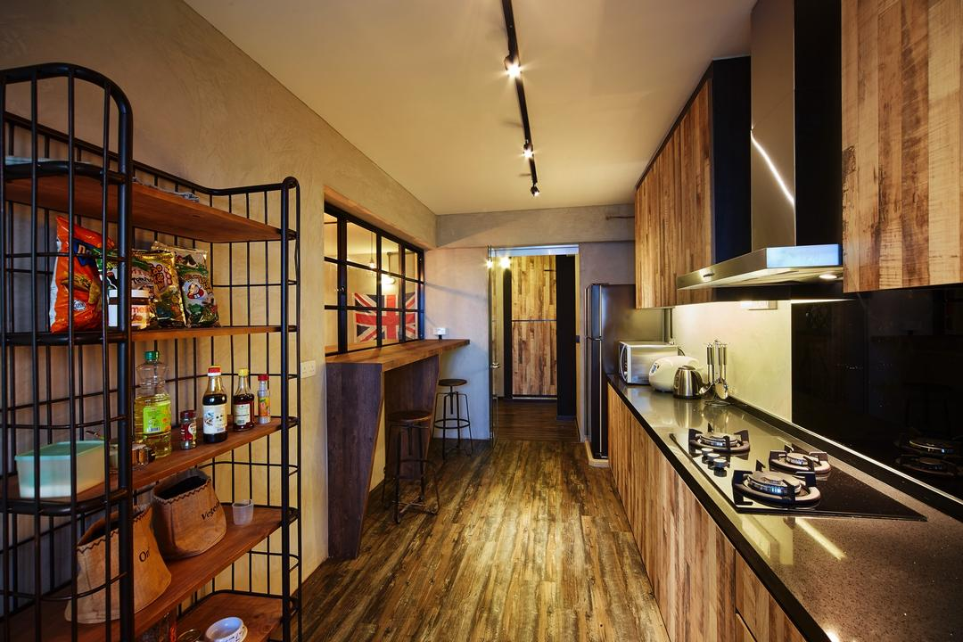 Pasir Ris, The Local INN.terior 新家室, Industrial, Kitchen, HDB, Kitchen Cabinet, Cabinetry, Kitchen Shelves, Kitchen Storage, Dark Laminates, Exhaust Hood, Kitchen Countertop, Backsplash, Wood Laminates, Rustic, Appliance, Electrical Device, Oven