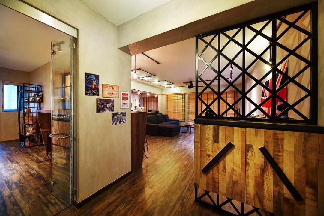 Pasir Ris, The Local INN.terior 新家室, Industrial, Study, HDB, Shoe Cabine, Partition, Wallway, Entrance, Hallway, Art, Art Gallery