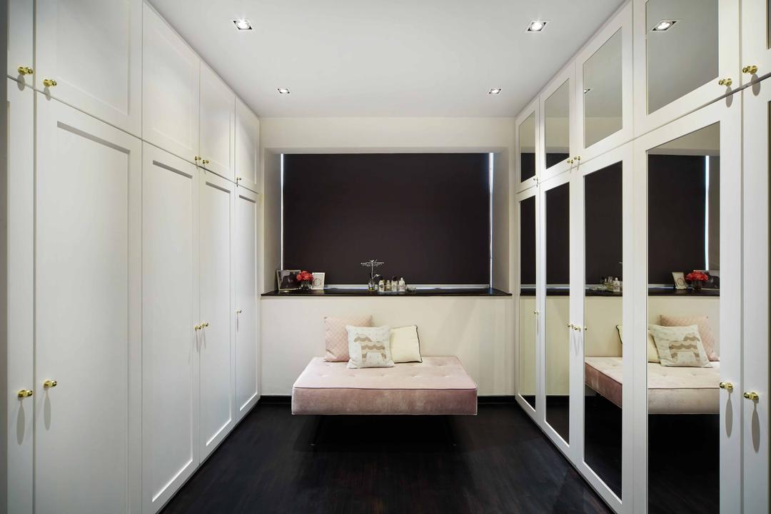 Legenda, The Local INN.terior 新家室, Contemporary, Bedroom, Condo, Walk In Wardrobe, Bench, Cushioned Bench, Girly, Pink, Powder Pink, White Wardrobe, Mirror, Full Length Mirror, Blinds, Roller Blinds, Indoors, Interior Design