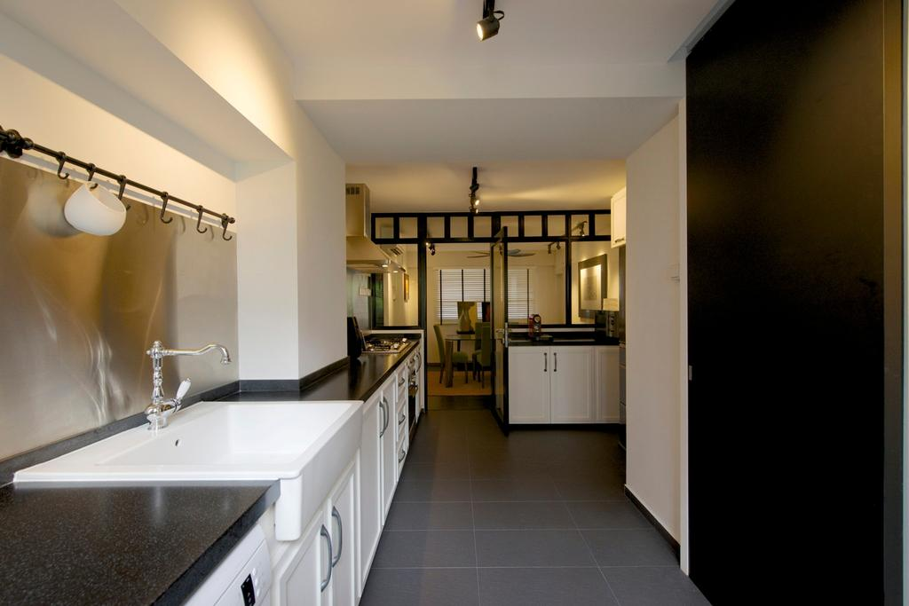 Eclectic, HDB, Kitchen, Jurong West Masionette, Interior Designer, Dyel Design, Linear, Nordic, Track Lighting, Tile, Tiles, Cabinet, Kitchen Counter, Marble Surface, Exhaust Pipe, Glass Wall, Indoors, Interior Design, Sink, Corridor