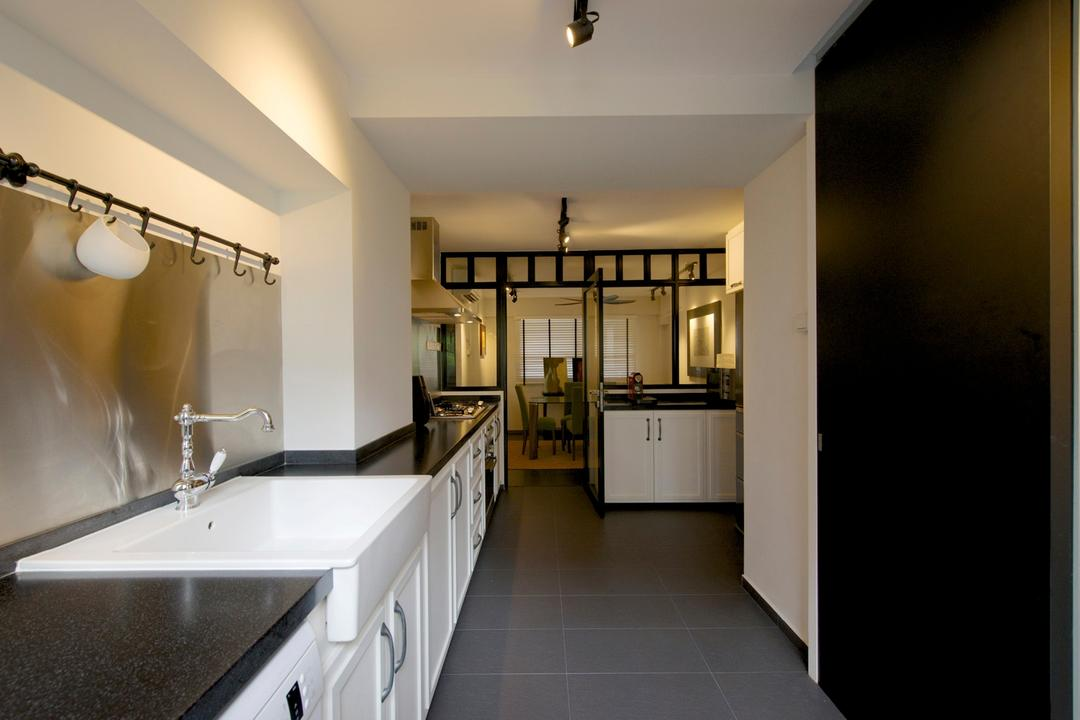 Jurong West Masionette, Dyel Design, Eclectic, Kitchen, HDB, Linear, Nordic, Track Lighting, Tile, Tiles, Cabinet, Kitchen Counter, Marble Surface, Exhaust Pipe, Glass Wall, Indoors, Interior Design, Sink, Corridor