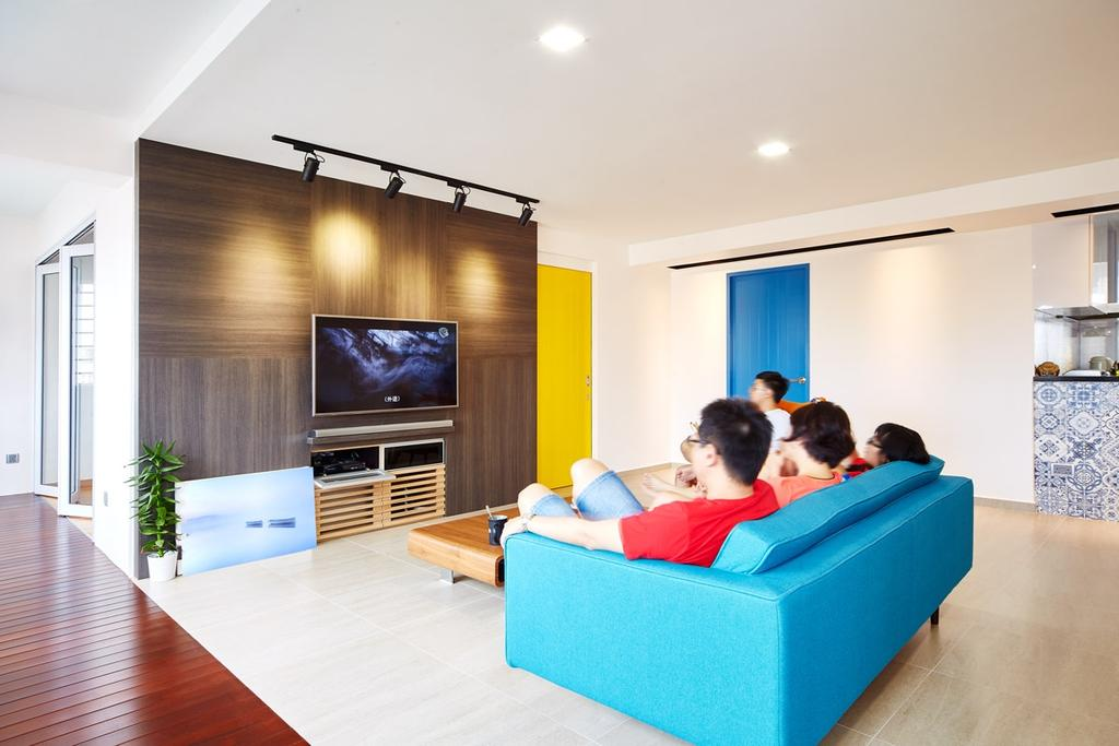 Eclectic, HDB, Living Room, Hougang, Interior Designer, The Local INN.terior 新家室, Sofa, Pencil Leg Sofa, Loveseat, Blue Sofa, Feature Wall, Track Light, Track Lighting, Tv, Tv Cabinet, Bright, Flora, Jar, Plant, Potted Plant, Pottery, Vase, Audience, Classroom, Crowd, Human, Indoors, Person, Room, Speech, Electronics, Entertainment Center, Flooring, Home Theater, Couch, Furniture
