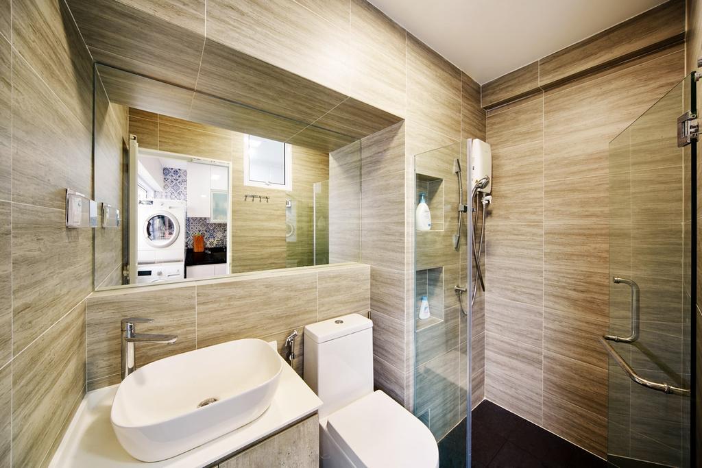 Eclectic, HDB, Bathroom, Hougang, Interior Designer, The Local INN.terior 新家室, Bathroom Tiles, Vessel Sink, Mirror, Toilet Bowl, Water Closet, Bathroom Vanity, Shower Screen, Shower Door, Indoors, Interior Design, Toilet