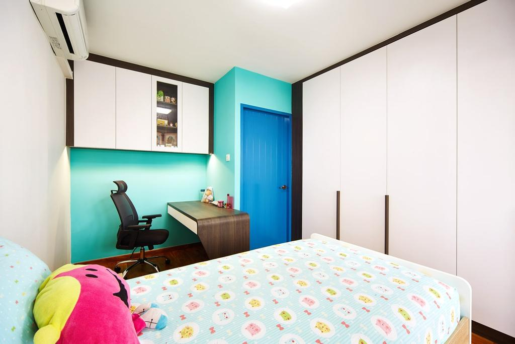 Eclectic, HDB, Bedroom, Hougang, Interior Designer, The Local INN.terior 新家室, Cabinet, Cabinetry, Wardrobe, Single Bed, Kids Room, Kids, Plushie, Toys, Study Table, Office Chair, Girly, Blue, Turquoise, Door, Sliding Door, Indoors, Interior Design, Room, Blanket, Home Decor