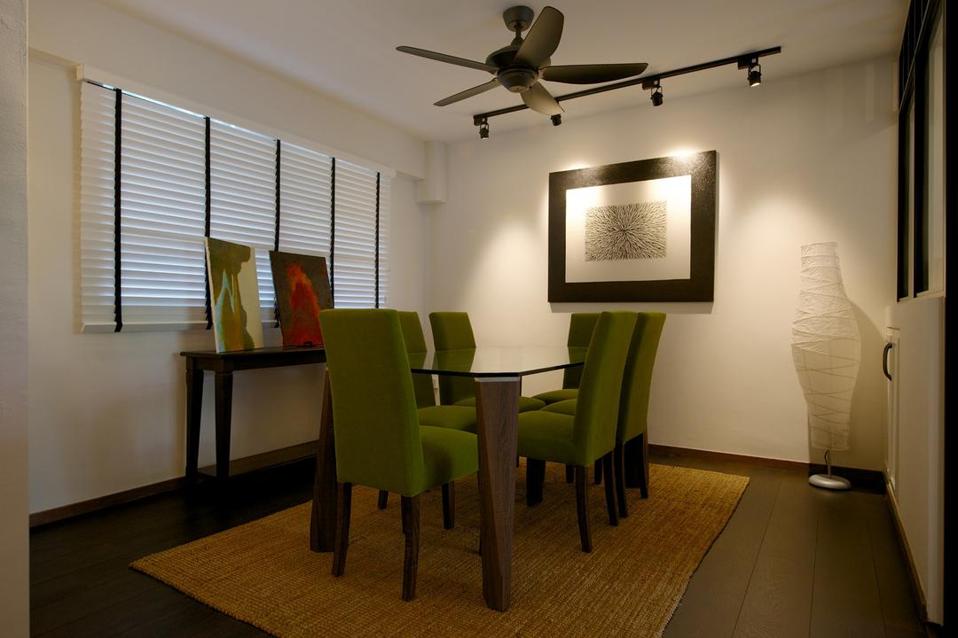 Jurong West Masionette, Dyel Design, Eclectic, Dining Room, HDB, Venetian Blinds, Ceiling Fan, Track Lighting, Painting, Display Table, Standing Lamp, Rug, Chair, Dining Table, White, Nordic, Plank Flooring, Parquet, Table, Furniture, Indoors, Interior Design, Room, Lighting