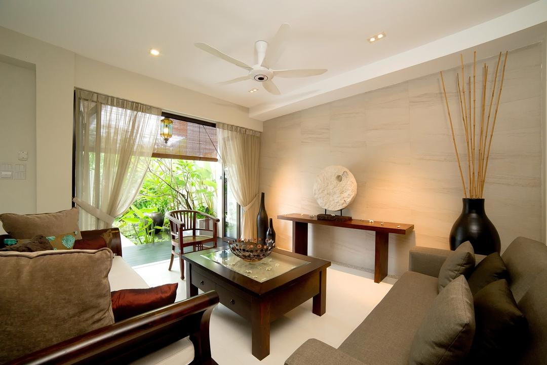 Parbury, Dyel Design, Contemporary, Living Room, Landed, Ceiling Fan, Coffee Table, Display Table, Sculpture, Ornaments, Woodwork, Wood, Laminate, Wood Laminate, Sofa, Cushions, Curtains, Blinds, Chair, Marble Wall, Neutral Tones, Couch, Furniture, Indoors, Room, Balcony