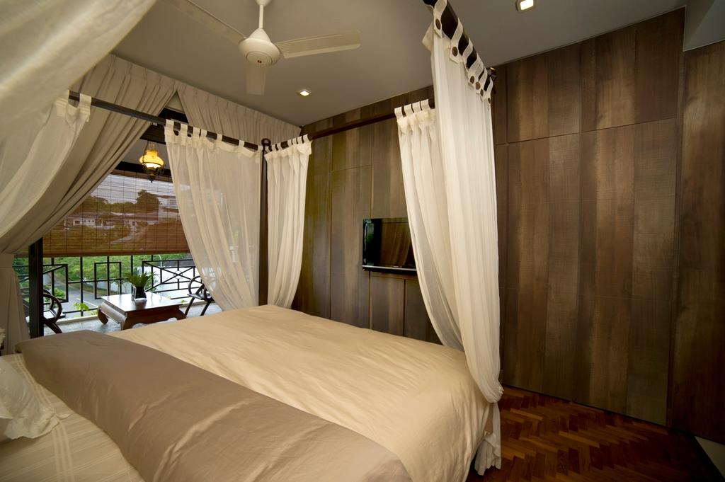 Contemporary, Landed, Bedroom, Parbury, Interior Designer, Dyel Design, Four Poster Bed, Resort, Ceiling Fan, Parquet, Parquet Wall, Wood Laminate, Wood, Laminate, Blinds, Balcony, Rustic, Bed, Furniture, Indoors, Room, Interior Design