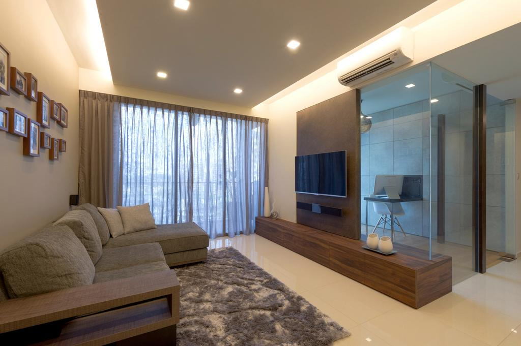 Modern, Condo, Living Room, Prive, Interior Designer, Dyel Design, Rug, Sofa, Full Length Windows, Curtains, False Ceiling, Concealed Lighting, Painting, Wood Laminate, Tv Console, Ornaments, Glass Wall, Marble Flooring, Marble Tile, Marble Tiles, Wood, Laminate, Couch, Furniture, Indoors, Room