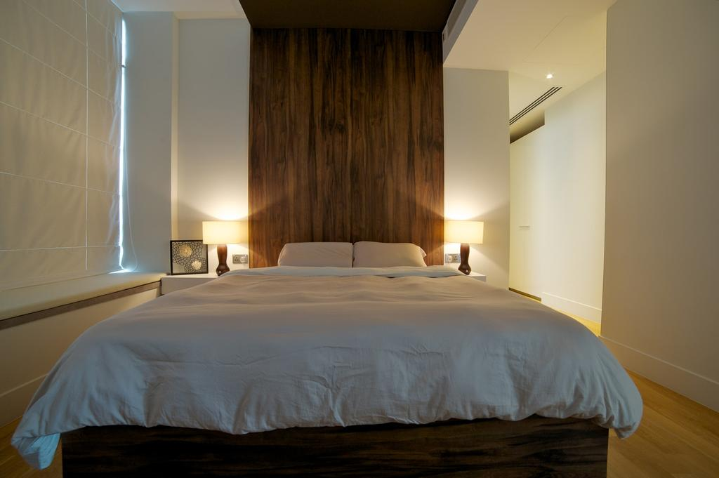 Contemporary, HDB, Bedroom, Viva, Interior Designer, Dyel Design, False Wall, Parquet Wall, Wood Laminate, Wood, Laminate, Lamp, Blinds, Window Seat, White, Bed, Furniture, Indoors, Room, Wall