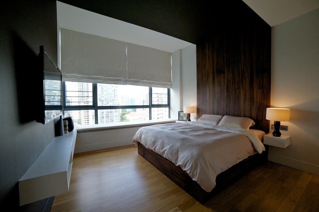 Contemporary, HDB, Bedroom, Viva, Interior Designer, Dyel Design, Parquet Wall, Wood Laminate, Wood, Laminate, Window Seat, Blinds, Resort, Side Table, Night Stand, Parquet, Tv Console, Lamp, False Wall, False Ceiling, Bed, Furniture, Indoors, Interior Design, Room
