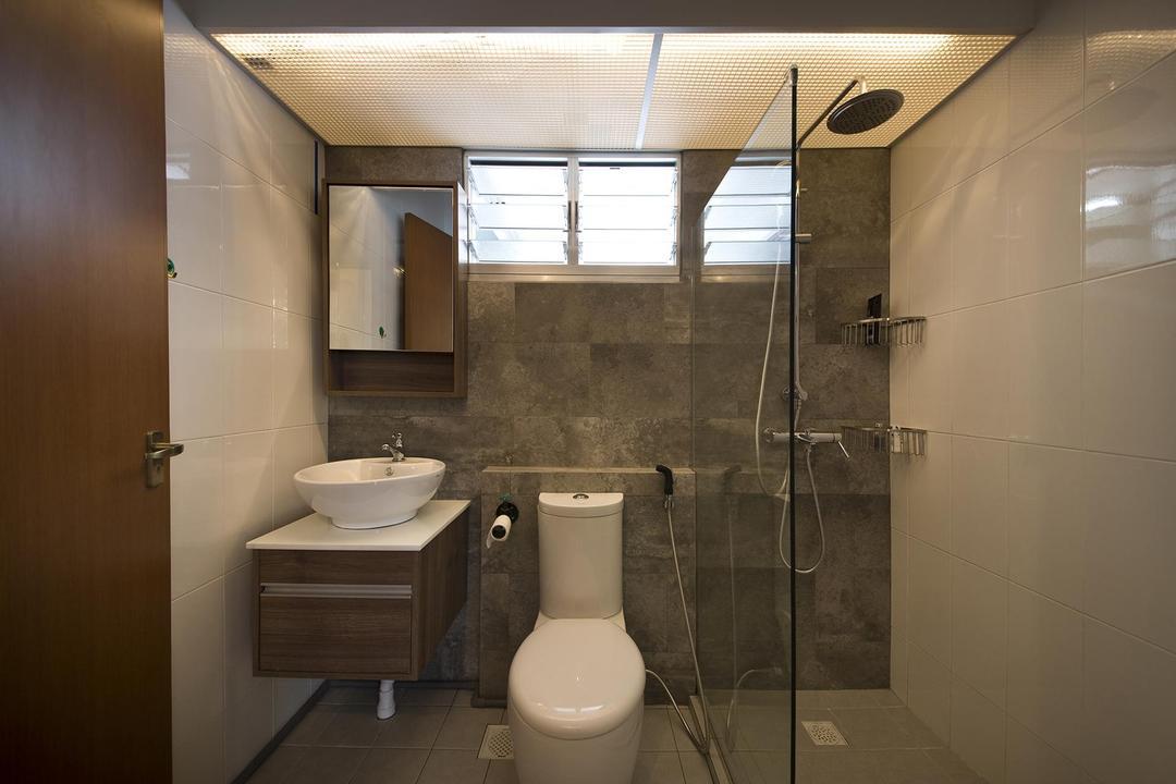 Anchorvale Link, Fuse Concept, Industrial, Bathroom, HDB, Tiles, Shower, Washing Closet, Toilet Bowl, Warm Lighting, Shower Screen, Toilet, Indoors, Interior Design, Room