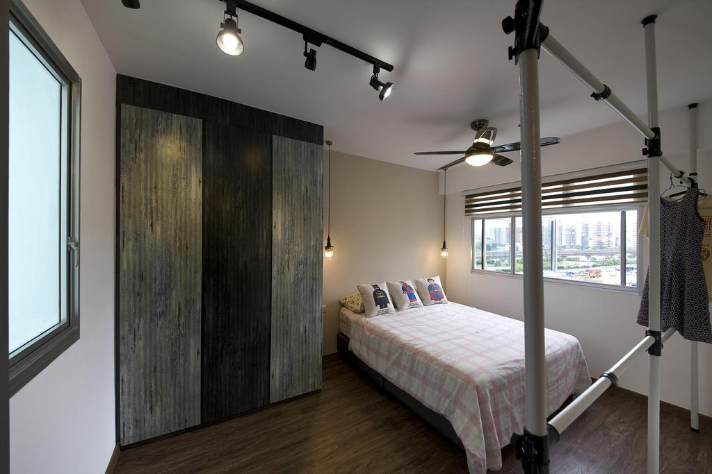 Industrial, HDB, Bedroom, Anchorvale Link, Interior Designer, Fuse Concept, Clothes Rack, Cupboard, Wardrobe, Window, Bed, , Track Lights, Cushions, Throw Pillows, Simple, Indoors, Interior Design, Room, Furniture, Building, Housing, Loft, Wall