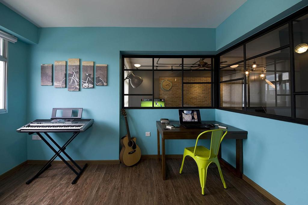 Industrial, HDB, Study, Anchorvale Link, Interior Designer, Fuse Concept, Chair, Furniture, Dining Room, Indoors, Interior Design, Room
