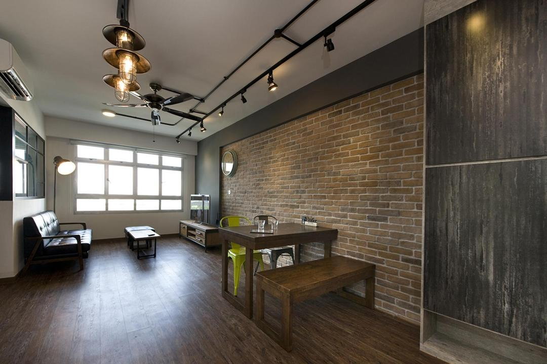 Anchorvale Link, Fuse Concept, Industrial, Dining Room, HDB, Dining Table, Industrial Chairs, Shoe Cabinet, Cabinet, Brick Wall, Feature Wall, Raw, Rustic, Warehouse, Cafe, Flooring, Lighting, Building, Housing, Indoors, Loft, Interior Design