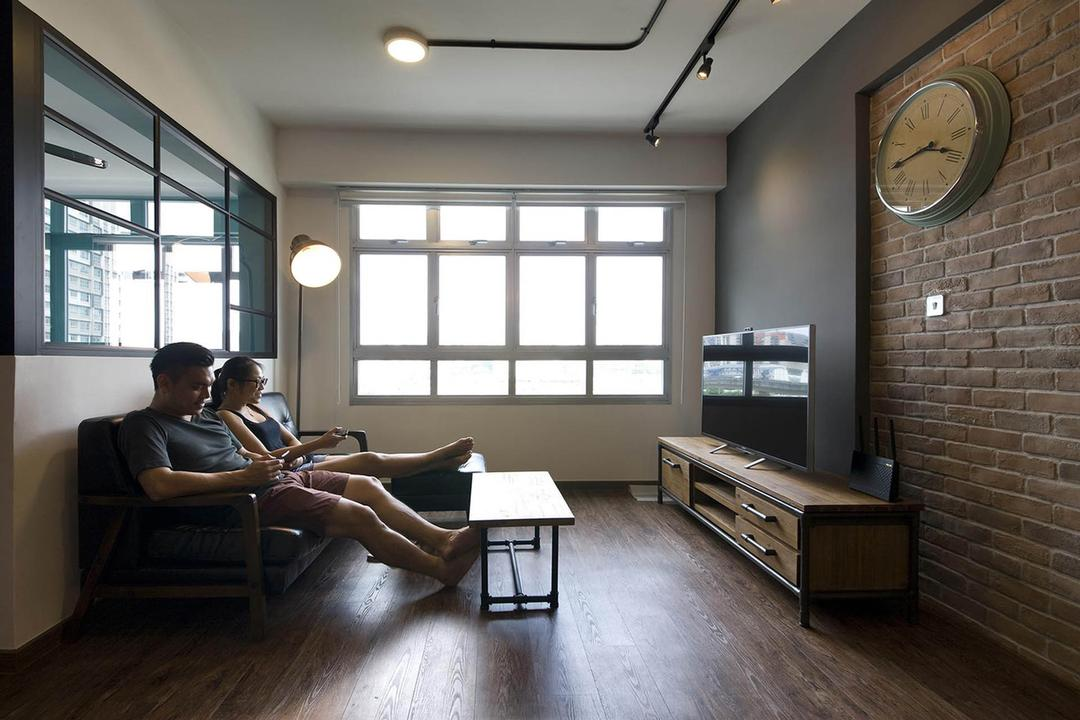 Anchorvale Link, Fuse Concept, Industrial, Living Room, HDB, Wood Flooring, Half Hack Wall, Glass Wall, Windows, Brick Wall, Raw, Rustic, Cafe, Human, People, Person, Indoors, Room, Waiting Room, Clock