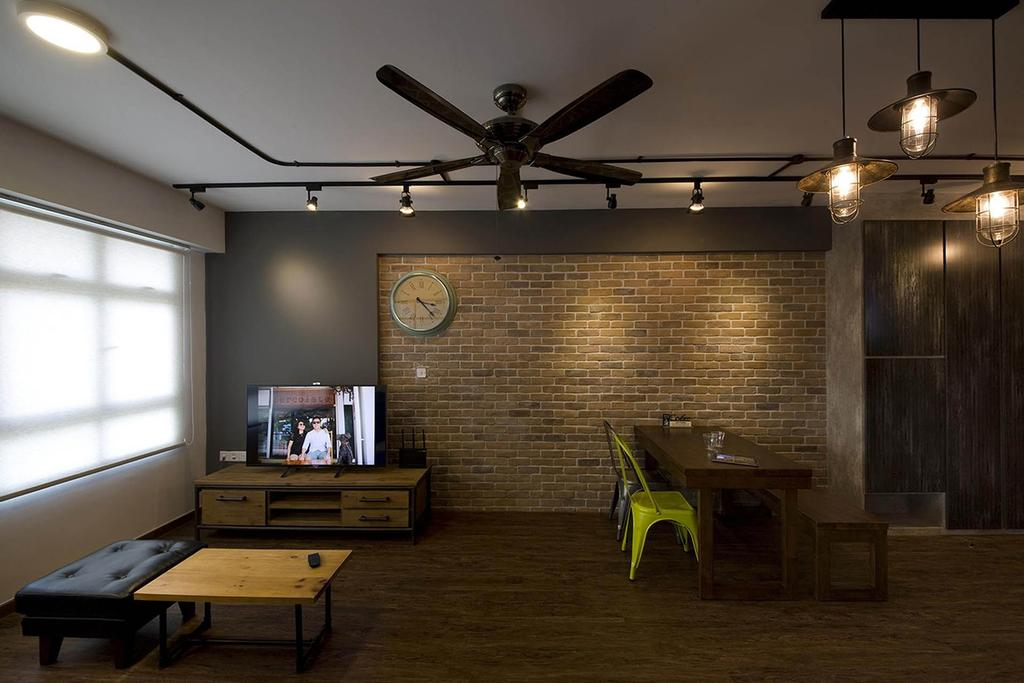 Industrial, HDB, Living Room, Anchorvale Link, Interior Designer, Fuse Concept, Brick Wall, Blinds, Ceiling Fan, Exposed Lightings, Hanging Bulbs, Rustic, Raw, Exposed, Coffee Table, Ottoman, Tv Console, Cafe, Building, Housing, Indoors, Loft, Bench, Chair, Furniture
