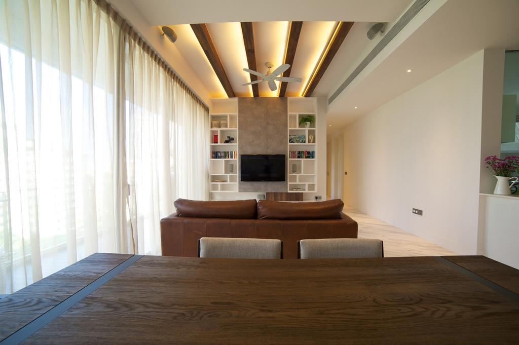 Contemporary, HDB, Living Room, Viva, Interior Designer, Dyel Design, Curtains, Sofa, Dining Table, Wood Laminate, Wood, Laminate, Woodwork, Ceiling Fan, Ceiling Beams, Concealed Lighting, Display Unit, Cubbyholes, Storage, White, False Ceiling, Couch, Furniture, Flooring