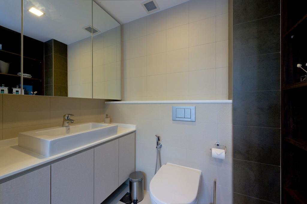 Contemporary, Condo, Bathroom, Parc Elegance, Interior Designer, Dyel Design, Mirror, Tile, Tiles, Vessel Sink, Bathroom Counter, Black, White, Monochrome, Toilet, Lighting, Indoors, Interior Design, Room
