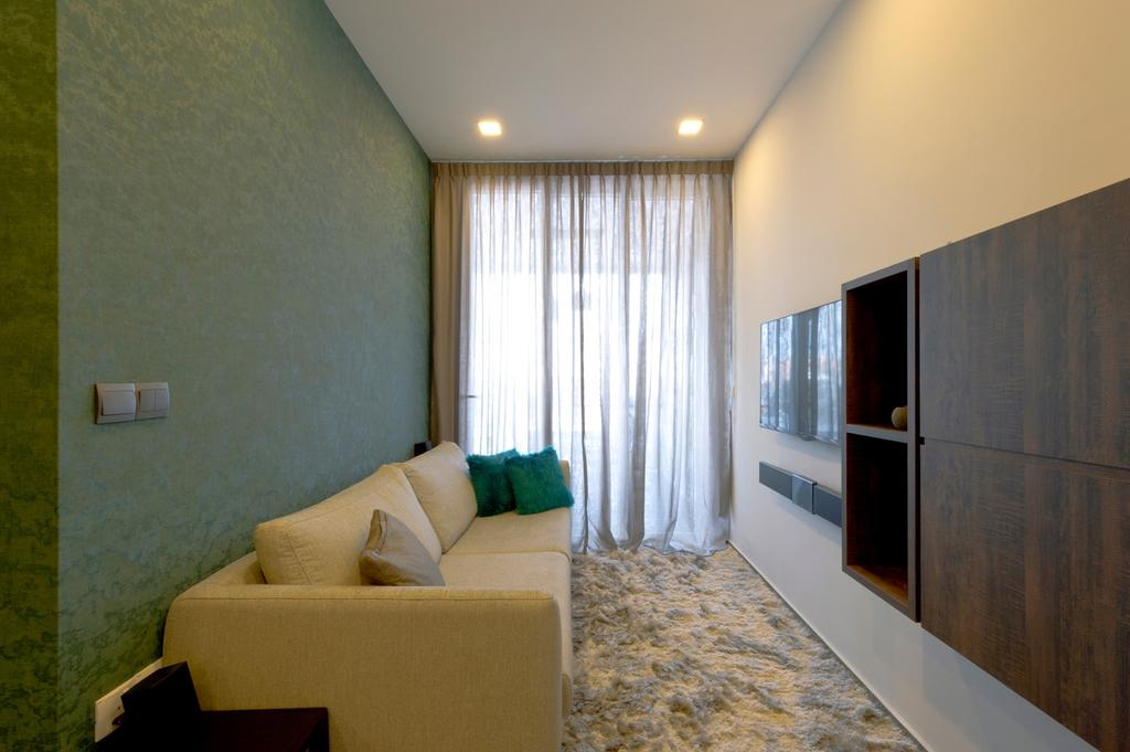 Contemporary, Condo, Living Room, Parc Elegance, Interior Designer, Dyel Design, Wallpaper, Green, Rug, Curtains, Sofa, Chair, Mounted, Cabinet, Storage, Shelf, Shelves, Display Shelf, Ornaments, Mounted Speakers, Couch, Furniture, Indoors, Interior Design, Bedroom, Room, Corridor