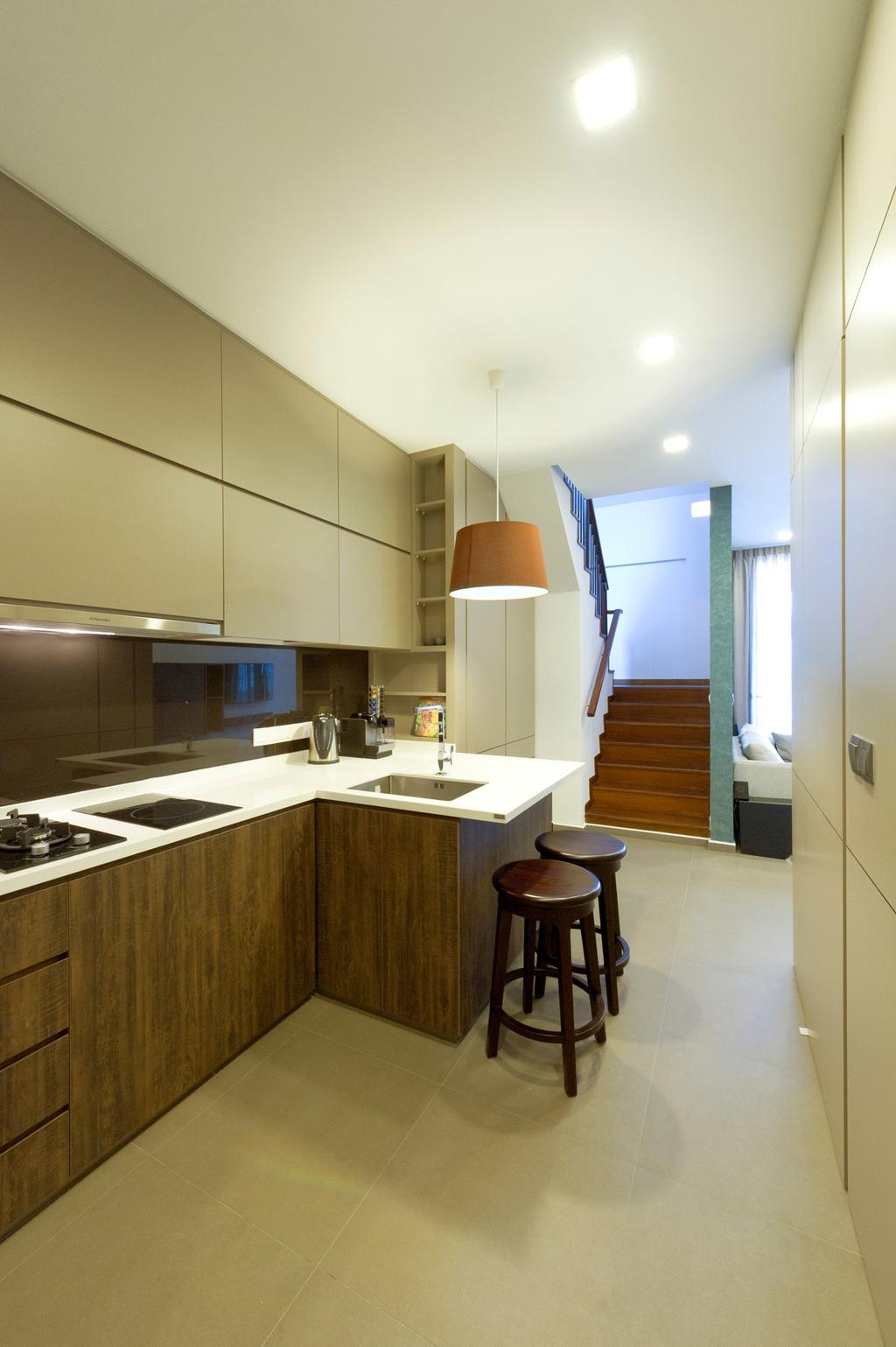 Contemporary, Condo, Kitchen, Parc Elegance, Interior Designer, Dyel Design, Bar Counter, Barstools, Chair, Tile, Tiles, Hanging Light, Lighting, Pendant Light, Cabinet, Kitchen Counter, Wood Laminate, Wood, Laminate, Stairs, Staircase, Handrails, Parquet, Shelf, Shelves, Woodwork, Bar Stool, Furniture, Bathroom, Indoors, Interior Design, Room, Banister, Handrail, Sink