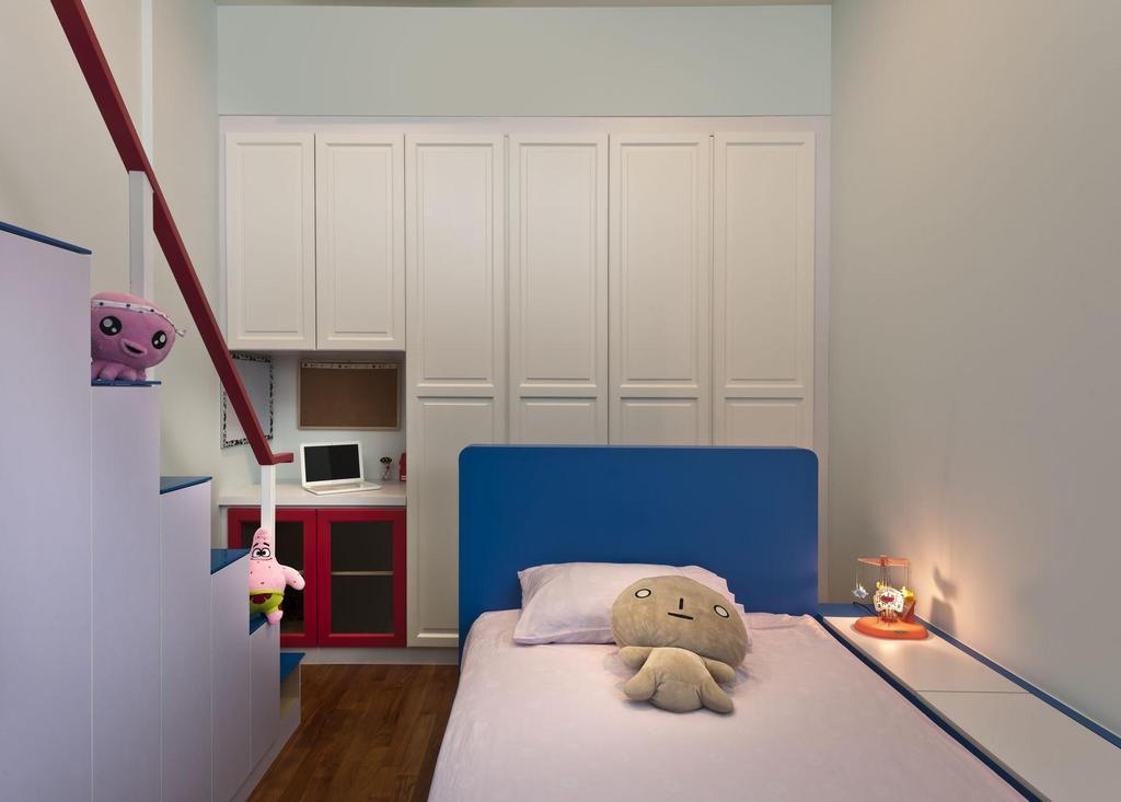 Contemporary, Condo, Bedroom, Cascadia, Interior Designer, Space Vision Design, Stairs, Staircase, Cabinet, Storage, Parquet, White, Kids Room, Kids, Indoors, Interior Design, Room