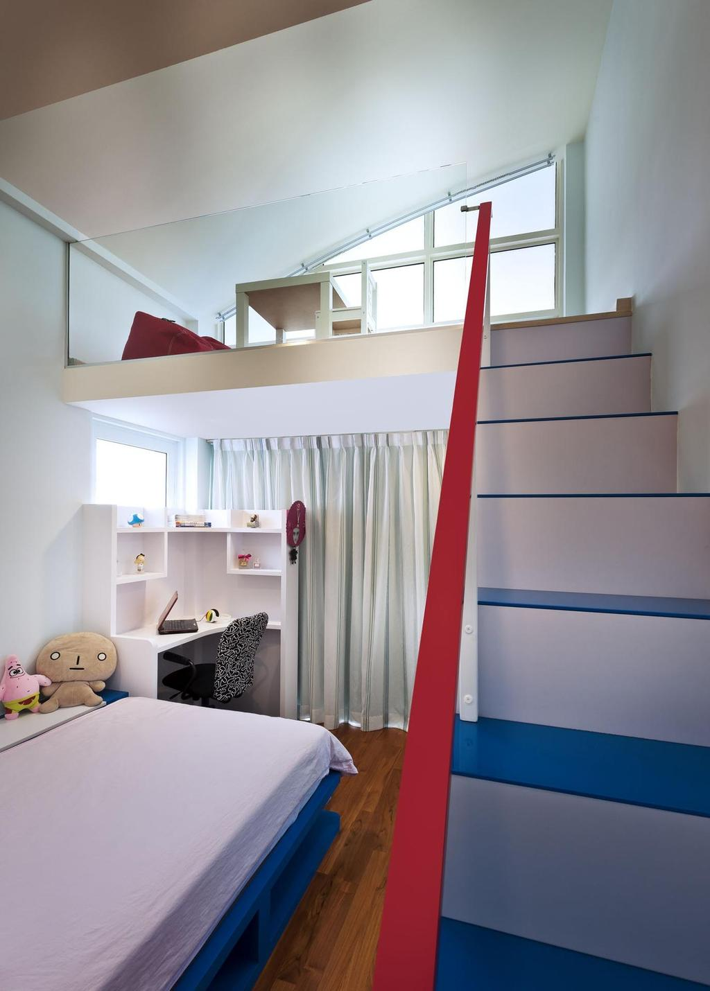 Contemporary, Condo, Bedroom, Cascadia, Interior Designer, Space Vision Design, Loft, Kids, Kids Room, Study Table, Table, Parquet, Curtains, Shelf, Staircase, Stairs, Slanted Ceiling, Toy