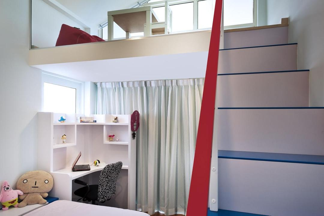 Cascadia, Space Vision Design, Contemporary, Bedroom, Condo, Loft, Kids, Kids Room, Study Table, Table, Parquet, Curtains, Shelf, Staircase, Stairs, Slanted Ceiling, Toy