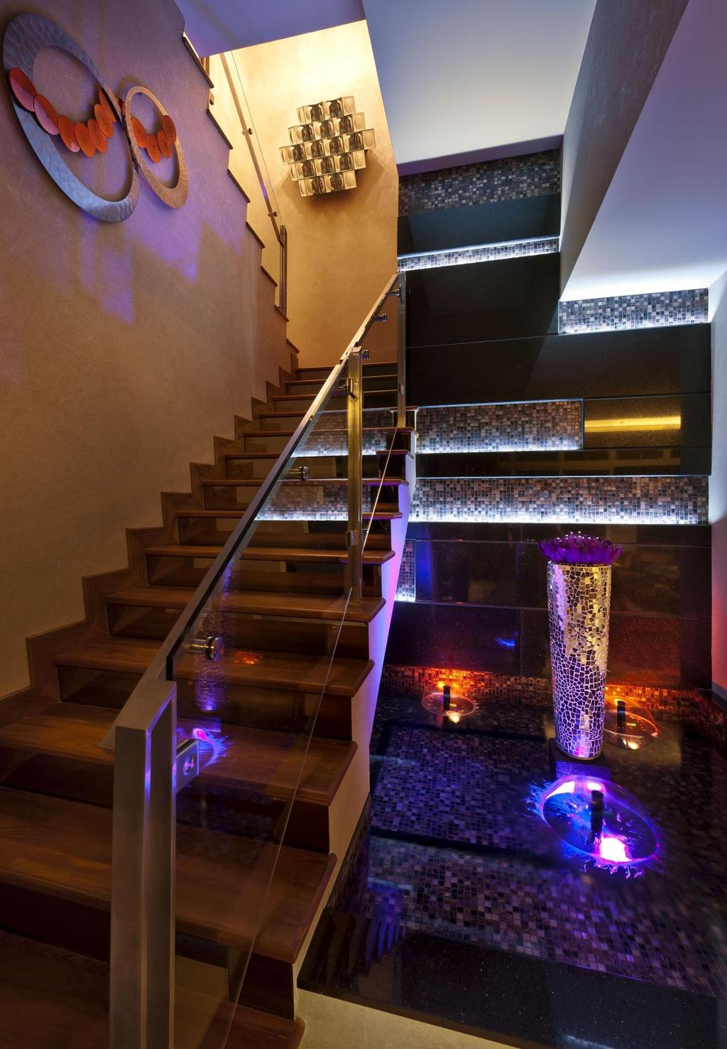 Contemporary, Condo, Cascadia, Interior Designer, Space Vision Design, Stairs, Staircase, Wall Art, Wall Sculpture, Mosaic, Mosaic Tiles, Water Feature, Fountain, Concealed Lighting, Handrails, Banister, Handrail, Chair, Furniture