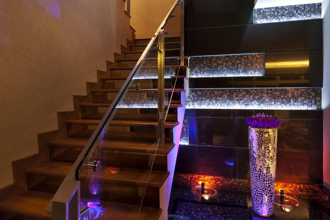 Cascadia, Space Vision Design, Contemporary, Condo, Stairs, Staircase, Wall Art, Wall Sculpture, Mosaic, Mosaic Tiles, Water Feature, Fountain, Concealed Lighting, Handrails, Banister, Handrail, Chair, Furniture