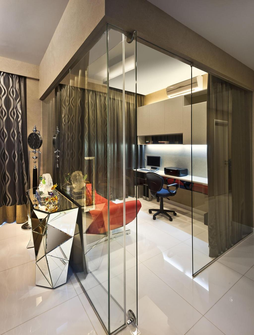 Contemporary, Condo, Study, Cascadia, Interior Designer, Space Vision Design, Tile, Tiles, Display Table, Geometric, Mirror, Table, Mounted Table, Study Table, Cabinet, Glass Room, Glass Wall, Collage, Poster, HDB, Building, Housing, Indoors