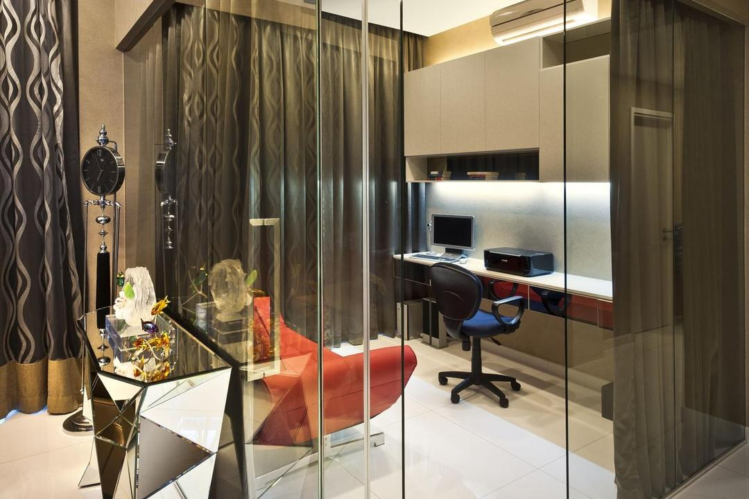 Cascadia, Space Vision Design, Contemporary, Study, Condo, Tile, Tiles, Display Table, Geometric, Mirror, Table, Mounted Table, Study Table, Cabinet, Glass Room, Glass Wall, Collage, Poster, HDB, Building, Housing, Indoors
