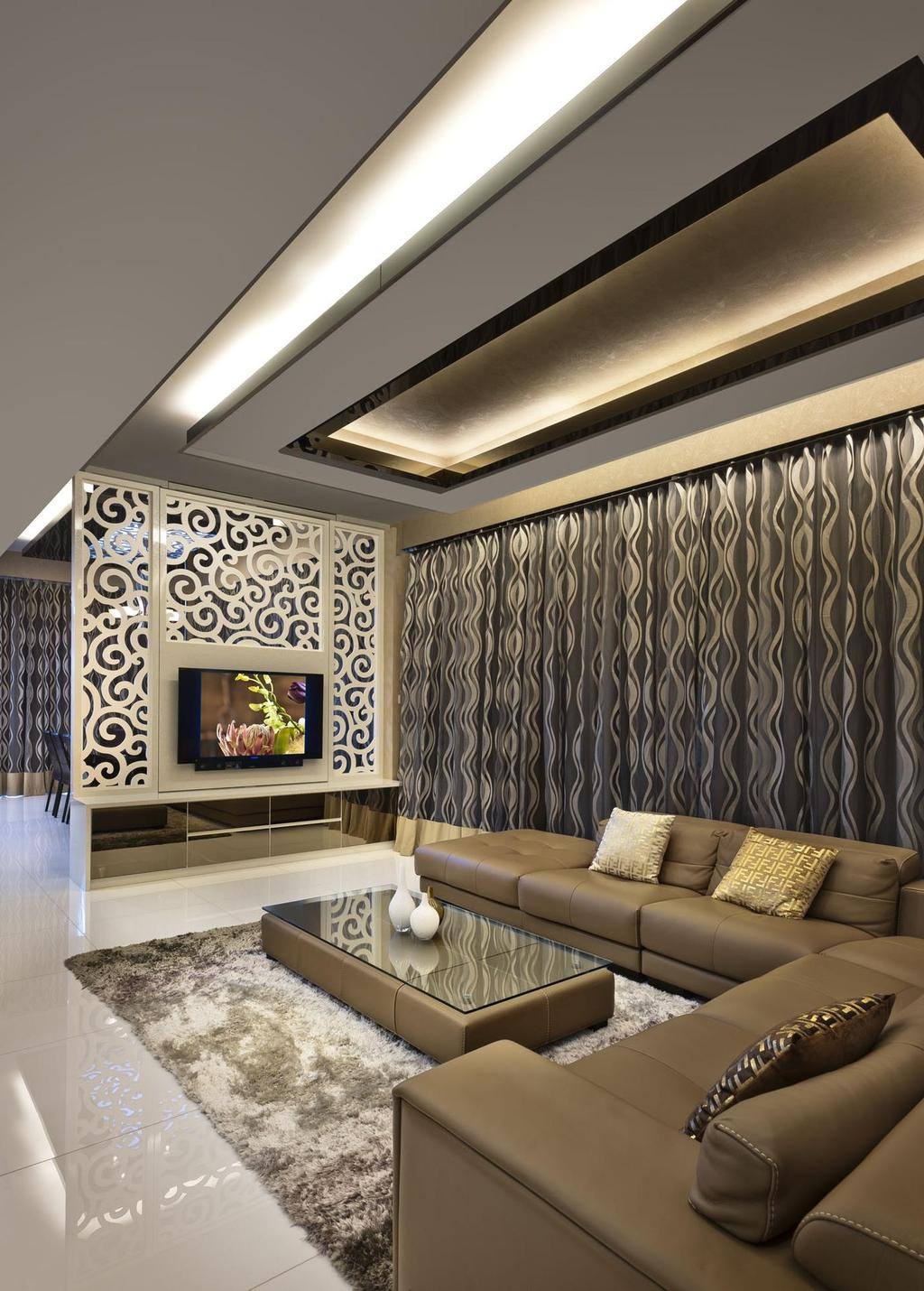 Contemporary, Condo, Living Room, Cascadia, Interior Designer, Space Vision Design, Rug, Coffee Table, Sofa, Chair, Curtains, Table, Marble Flooring, Partition, Mirror, Tv Console, Fase Ceiling, Concealed Lighting, Indoors, Interior Design, Couch, Furniture, Electronics, Entertainment Center