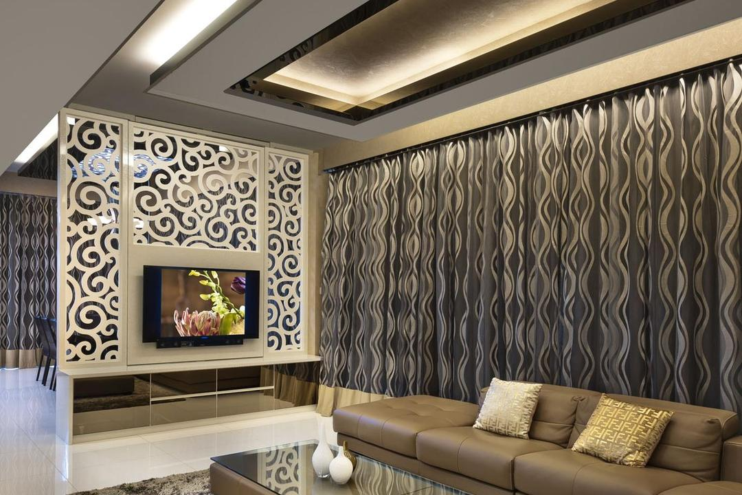 Cascadia, Space Vision Design, Contemporary, Living Room, Condo, Rug, Coffee Table, Sofa, Chair, Curtains, Table, Marble Flooring, Partition, Mirror, Tv Console, Fase Ceiling, Concealed Lighting, Indoors, Interior Design, Couch, Furniture, Electronics, Entertainment Center