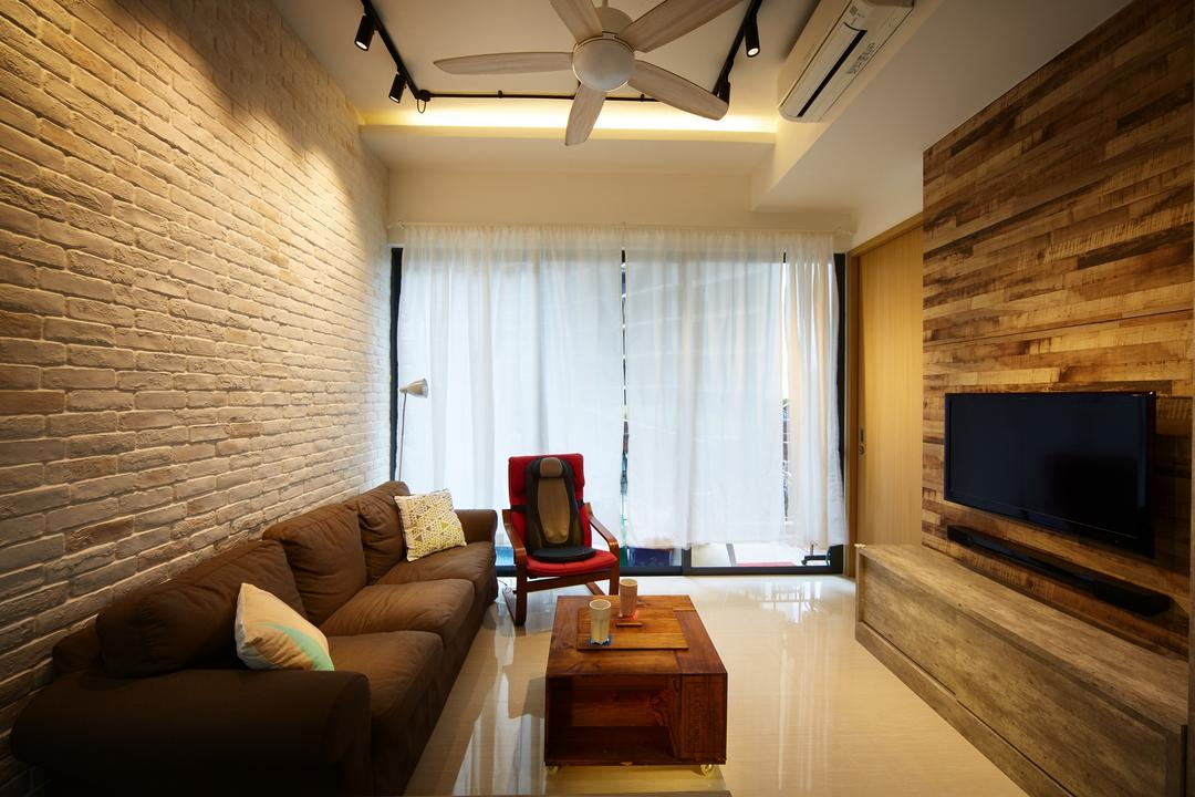 Boathouse Residences, The Local INN.terior 新家室, Contemporary, Living Room, Condo, Light Colored Flooring, , White Floor, Light Color Tiles, Glossy Floor, Craftstone, Craftstone Wall, Craftstone Feature Wall, Feature Wall, Wood Feature Wall, Wooden Feature Wall, Tv Concole, Tv, Television, Sofa, Fabric Sofa, Brown Sofa, Brown Fabric Sofa, Curtains, Curtain, White Curtain, Simple Curtain, Couch, Furniture, Indoors, Interior Design