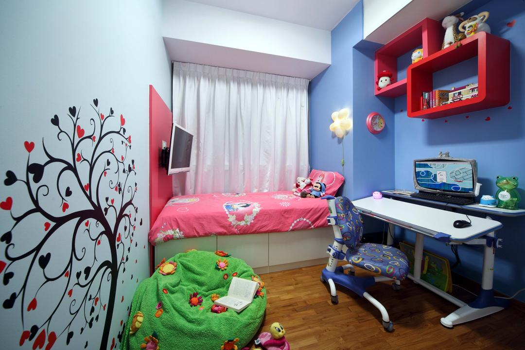 Double Bay Residences, The Local INN.terior 新家室, Traditional, Bedroom, Condo, Children Room, Kids Room, Children Bed, , Kids Storage Bed, Study Desk, Work Desk, Children Study Desk, Childeren Desk, Children Chair, Blue And White, Bedsheet, Children Bedsheet, Children Wall, Wall Stickers, Wall Arts, Bean Bags, Parquet, White Curtains, Curtains, Shelves On Wall, Wall Shelves, Children Shelves, Kids Bed, Clock, Children Clock, Wall Clock, Indoors, Room