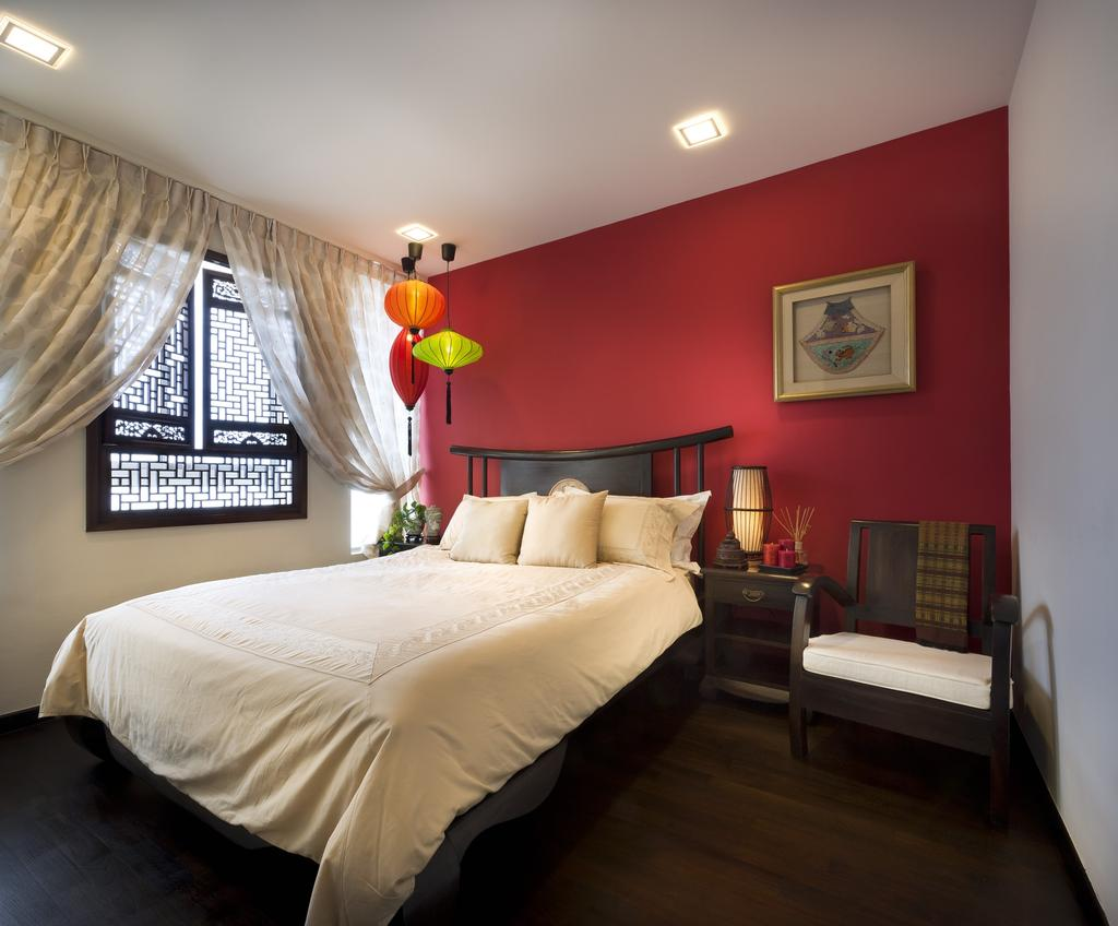Transitional, Landed, Bedroom, Chuan Hoe Avenue, Interior Designer, Space Vision Design, Oriental, Hanging Light, Pendant Light, Lighting, Parquet, Chair, Lamp, Side Table, Night Stand, Accent Wall, Red, Curtains, Grills, Couch, Furniture, Indoors, Interior Design, Room