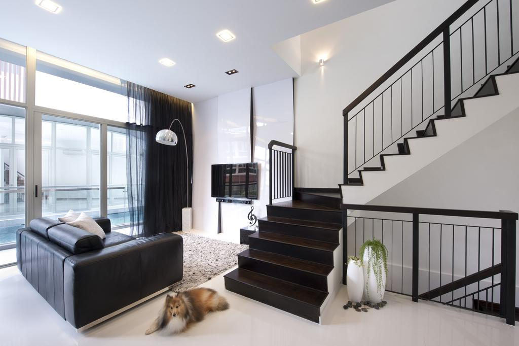 Transitional, Landed, Living Room, Chuan Hoe Avenue, Interior Designer, Space Vision Design, Stairs, Staircase, Handrails, Full Length Windows, Rug, Tv Console, Parquet, Curtains, Feature Wall, Black, White, Sofa, Chair, Monochrome, Minimalistic, Arc Floor Lamp, Glass Sliding Doors, Banister, Handrail