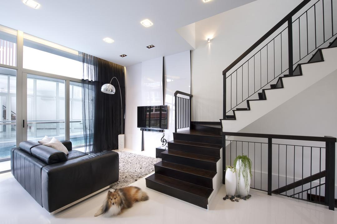 Chuan Hoe Avenue, Space Vision Design, Transitional, Living Room, Landed, Stairs, Staircase, Handrails, Full Length Windows, Rug, Tv Console, Parquet, Curtains, Feature Wall, Black, White, Sofa, Chair, Monochrome, Minimalistic, Arc Floor Lamp, Glass Sliding Doors, Banister, Handrail