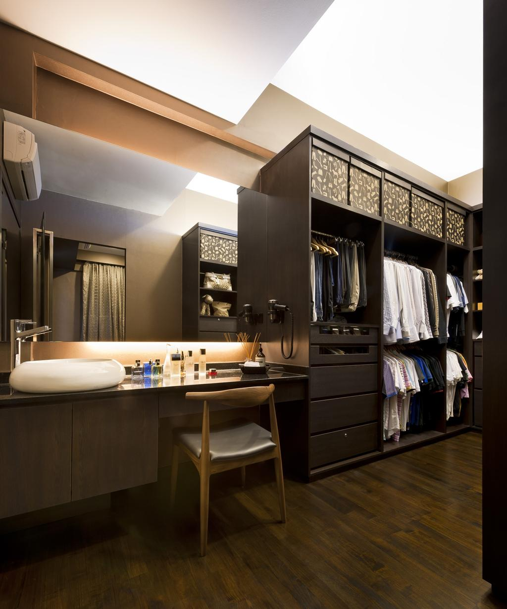 Transitional, Landed, Bathroom, Chuan Hoe Avenue, Interior Designer, Space Vision Design, Chair, Vessel Sink, Mirror, Walk In Wardrobe, Concealed Lighting, Parquet, Woodwork, Wood Laminate, Wood, Laminate, Rack, Drawers, Storage, Bathrooom Counter, Closet, Furniture, Wardrobe, Indoors, Interior Design, Room
