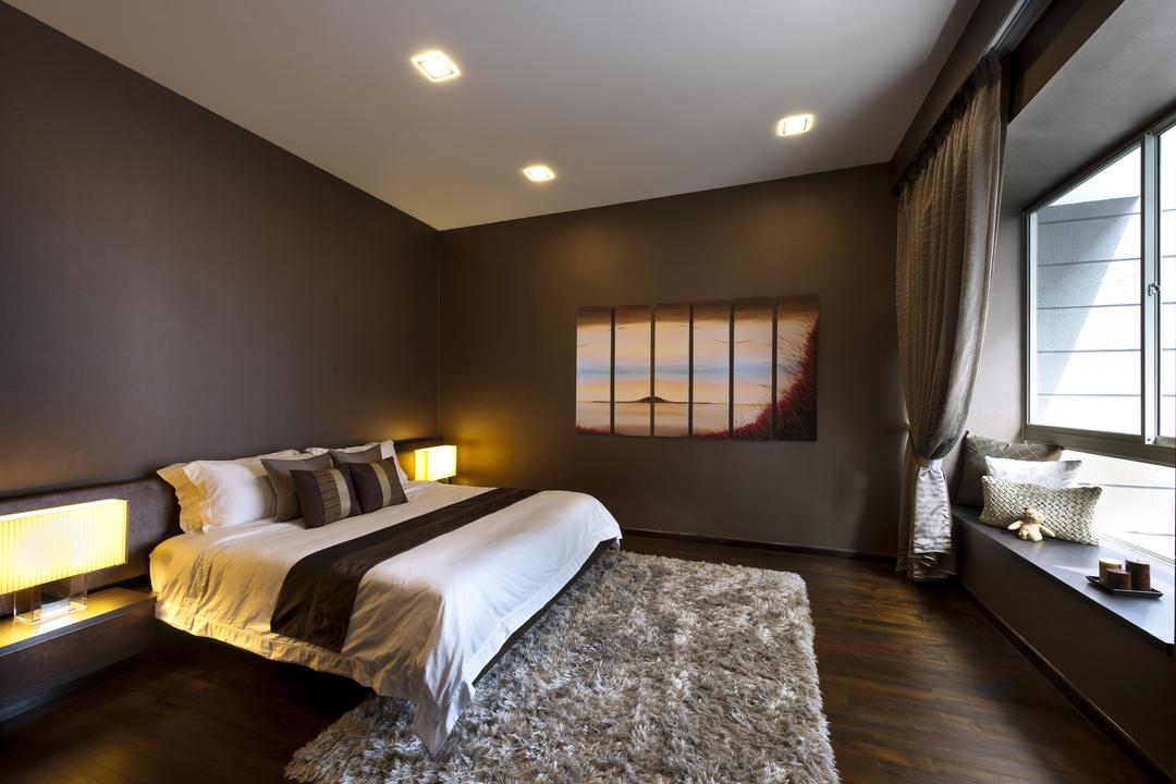 Chuan Hoe Avenue, Space Vision Design, Transitional, Bedroom, Landed, Rug, Painting, Lamp, Parquet, Window Seats, Cushions, Gray, Muted Tones, Night Stand, Side Table, Bay Window, Lighting, Indoors, Room, Interior Design, Bed, Furniture